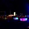 Backyard bar games at night