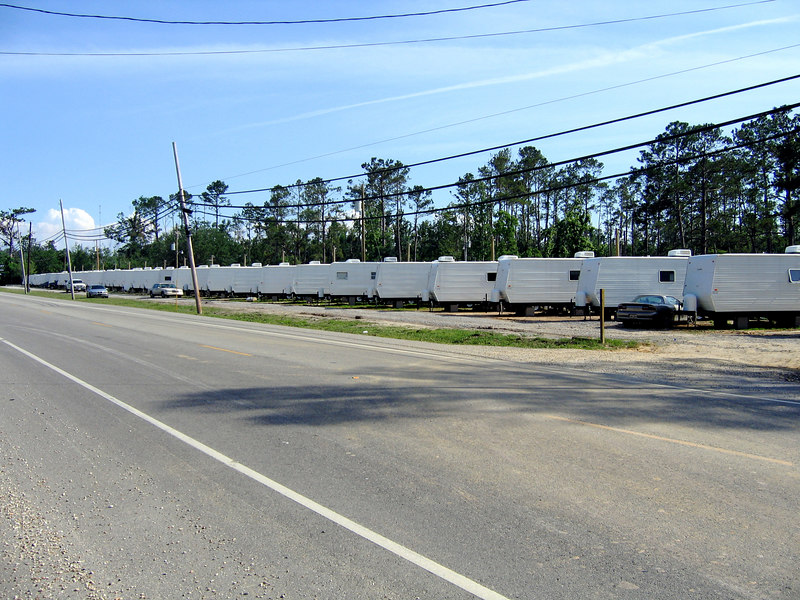 A FEMA trailer park. Hundreds of trailers inhabited by refugees. This one is outside of Slidell, LA.