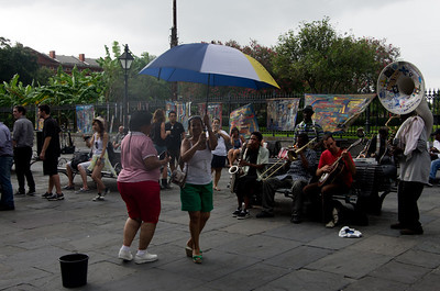 Umbrella dancing in Jackson Square
