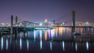 The Abe Lincoln & the JFK Bridge, Downtown Louisville, KY from the Big Four Bridge.