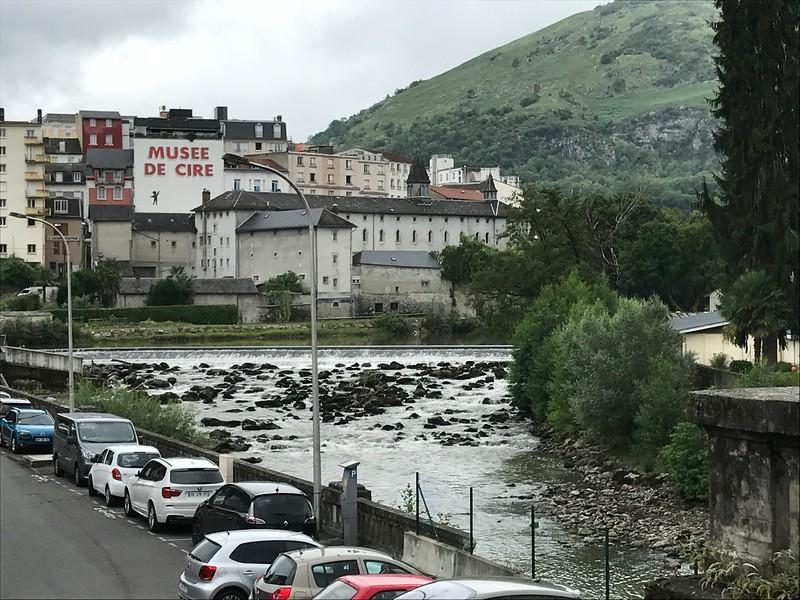"The river ""Gave de Pau""  runs through Lourdes. I passes beside the basillica  that is built above the grotto"