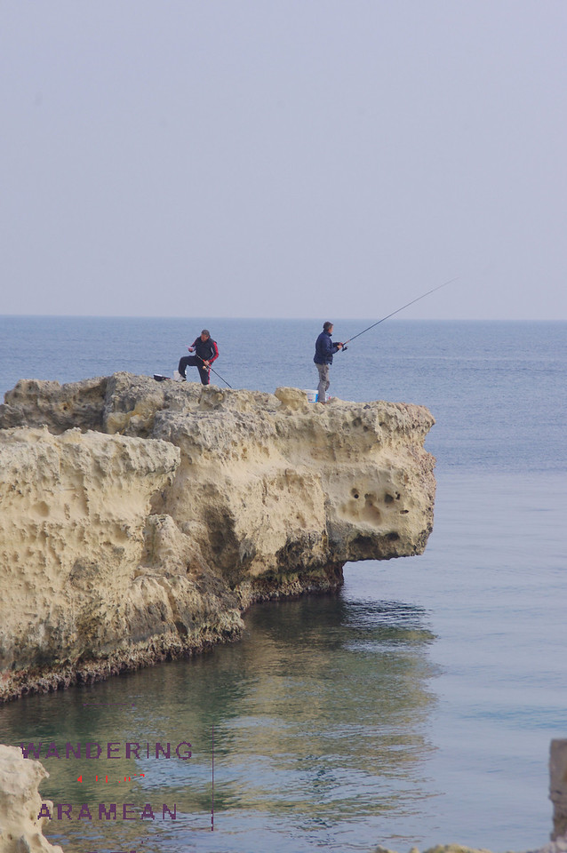 More fishermen on the old limestone cliffs