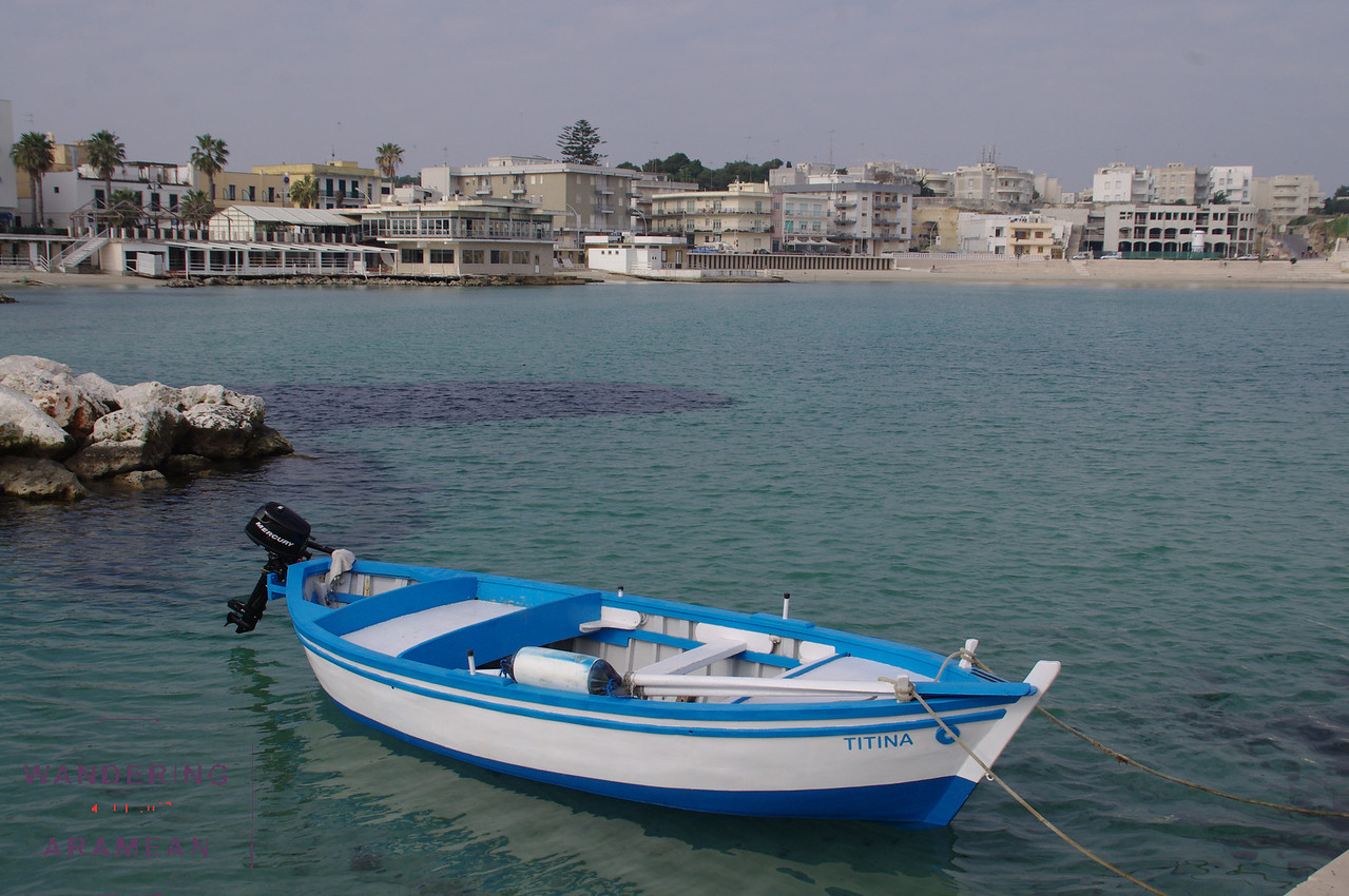 One of many small fishing boats in the harbor