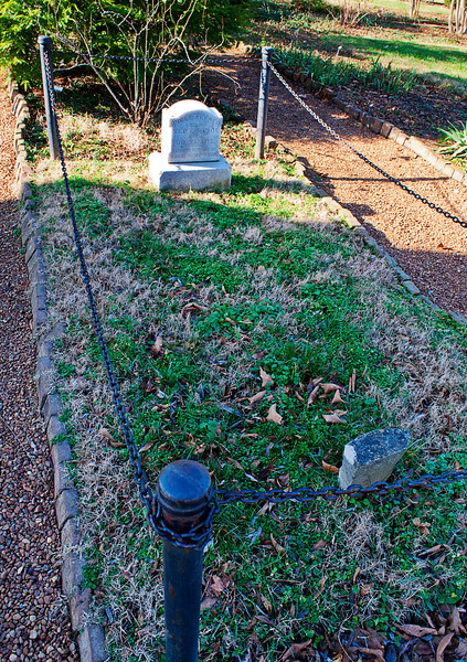 "Remember Alfred's Cabin? This is ""Uncle"" Alfred Jackson's grave just to the west of Old Hickory and Rachel.<br /> <br /> He was in effect the first docent of The Hermitage, staying on after the Ladies Hermitage Association took over from the State of Tennessee to whom junior had donated the remaining acreage and buidlings in 1853 retaining a family life tenancy that expired with the leave-taking of AJ III in 1893.<br /> <br /> Alfred had purchased some of the family furniture at an auction and agreed to return it to the LHA if they would guarantee him a decent burial."