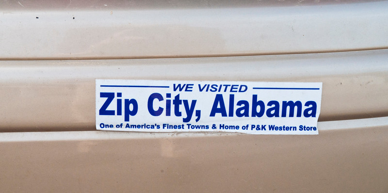 "But I hoped to get one of these bumper stickers for East-Haddamite Bill Griffith who does the Zippy the Pinhead cartoons, but even though the lady behind the counter in P & K Western Store (and Land Office) thought she had some ""Raht 'chere,"" she found none.<br /> <br /> Sorry Bill."