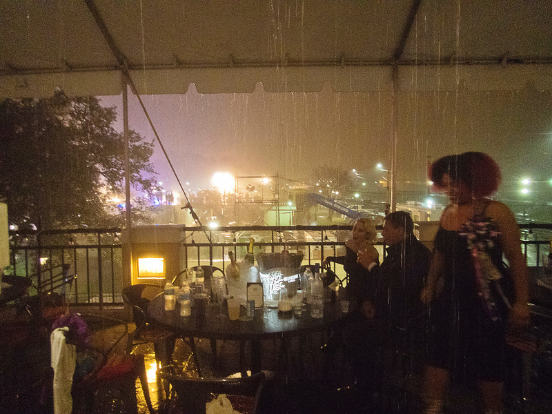 Jax Brewery in the rain; what's more as this was New Years Eve, someone paid well for the bottle club VIP table overlooking the bandshell.<br /> <br /> Amazingly, the fireworks all went off, but by that time we had gone back to the hotel as it's just a bar.