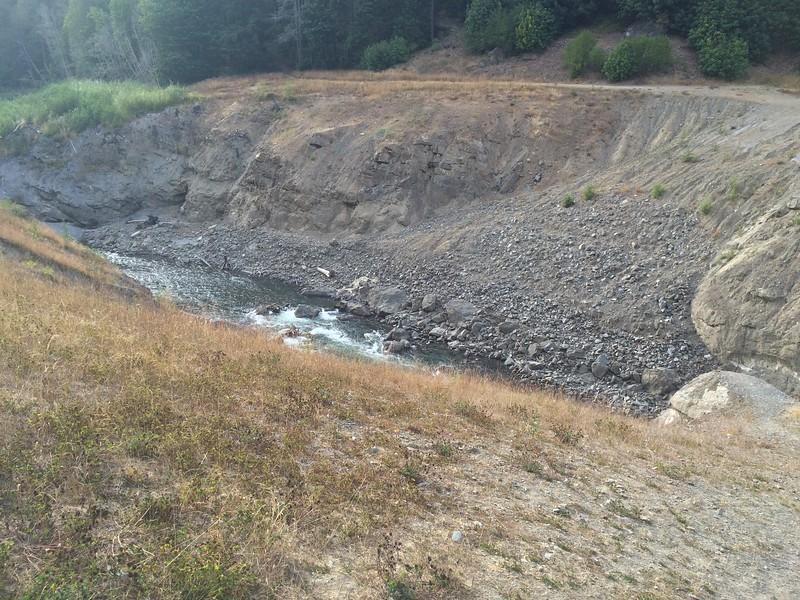 Former lake bed behind former dam