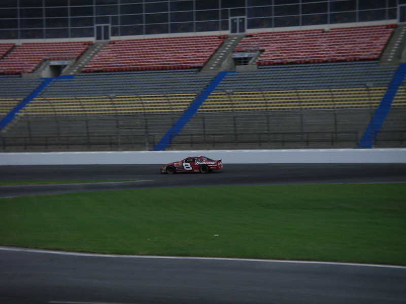 Lynda going into turn 2 at Lowes Motor Speedway at about 150 mph.  Which was slow compared to the 175 they clocked on the back stretch!