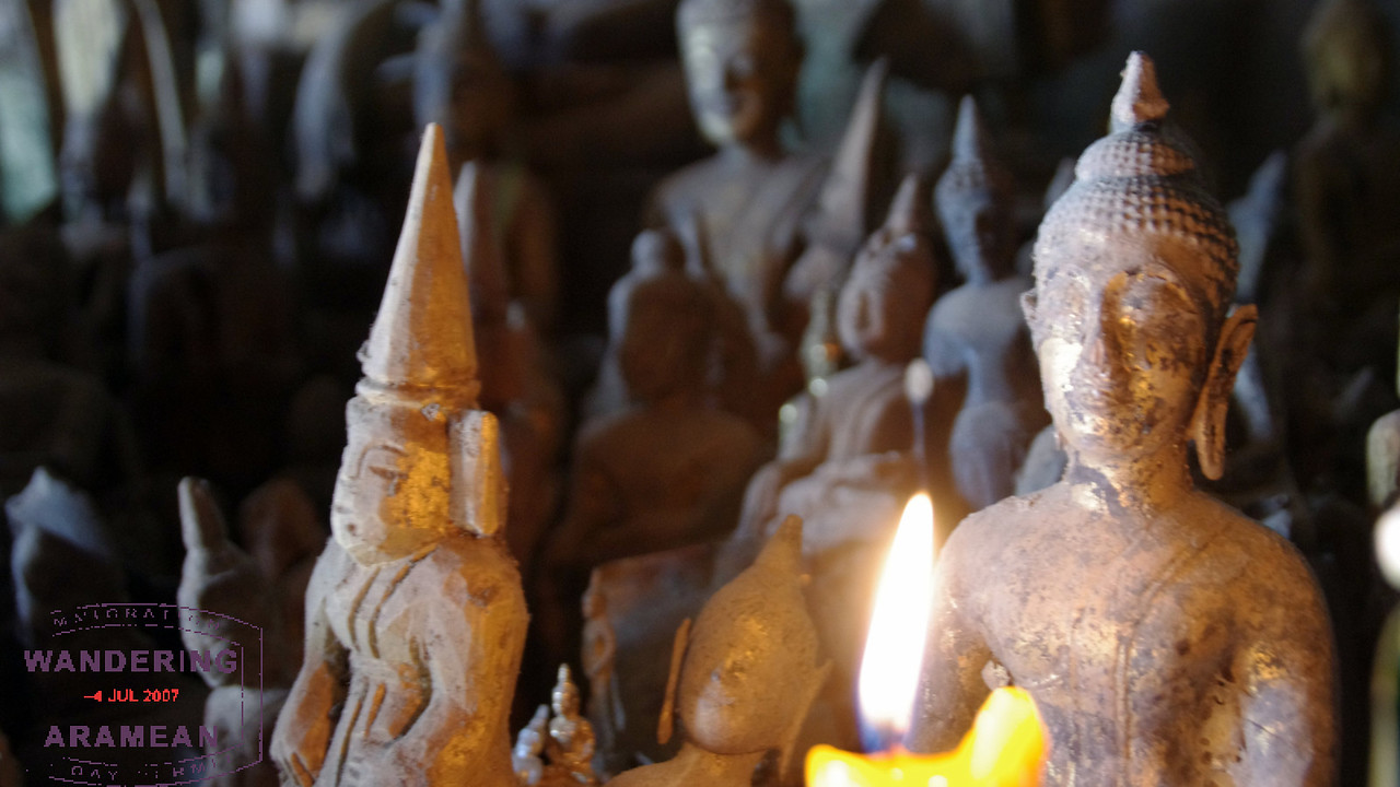 Inside the lower cave, some of the thousands of Buddha images