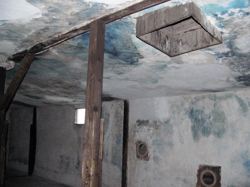 Gas chamber at Majdanek - port in ceiling for zyklon B gas pellets