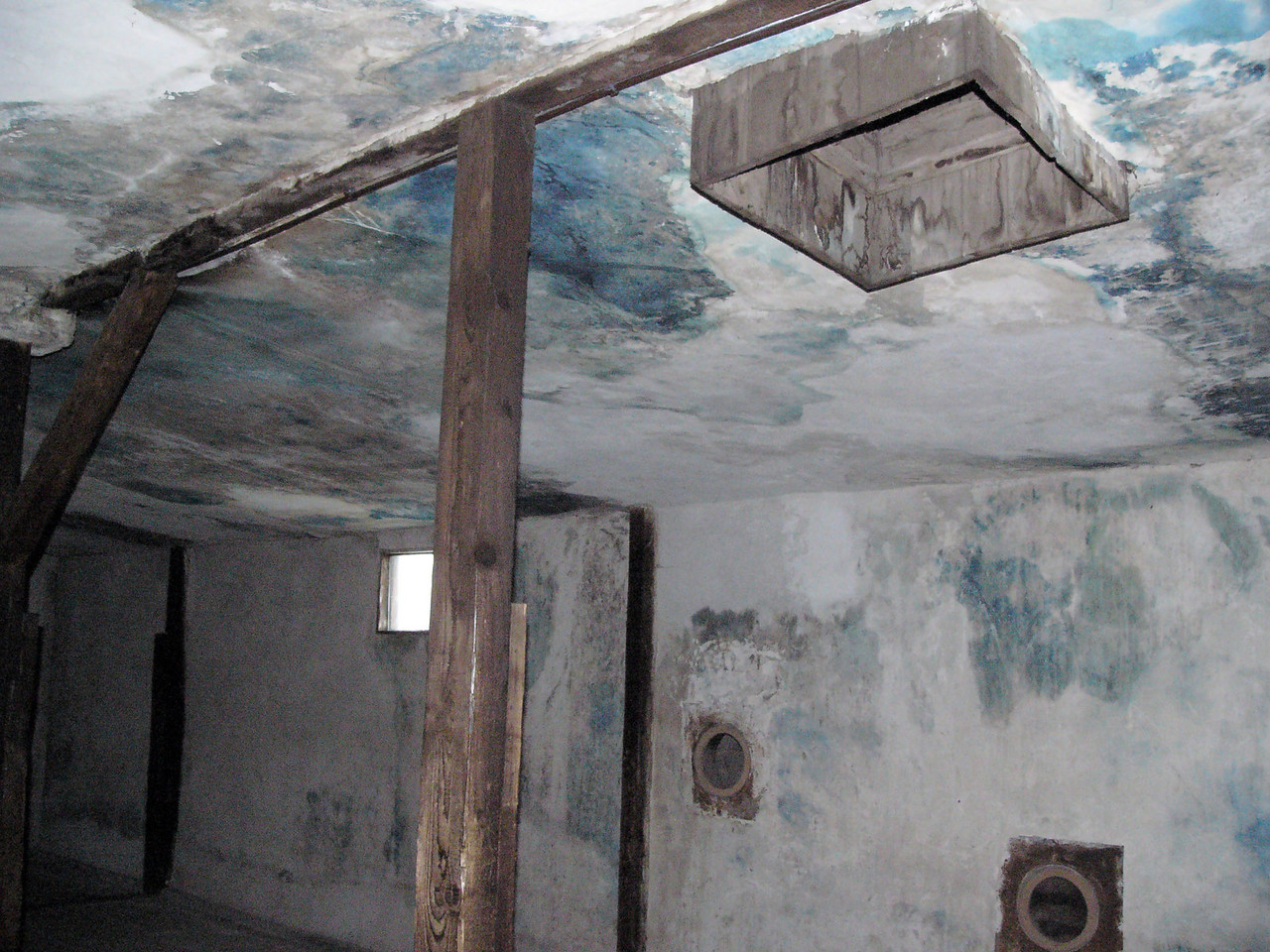 Gas chamber at Majdanek - port in ceiling for zyklon B gas pellets