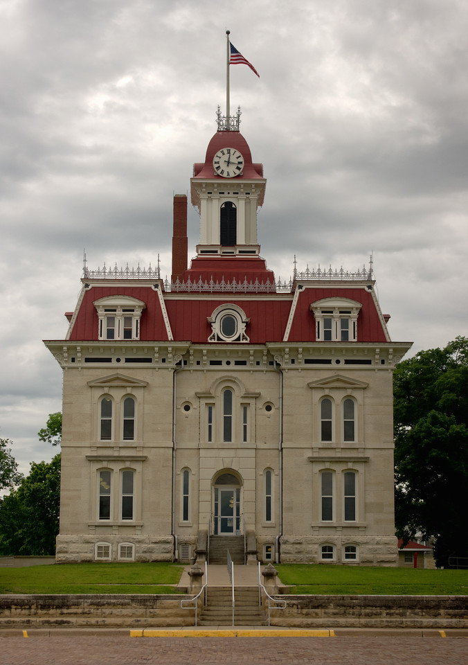 The Chase County Courthouse on a rainy day; Cottonwood Falls, Kansas.