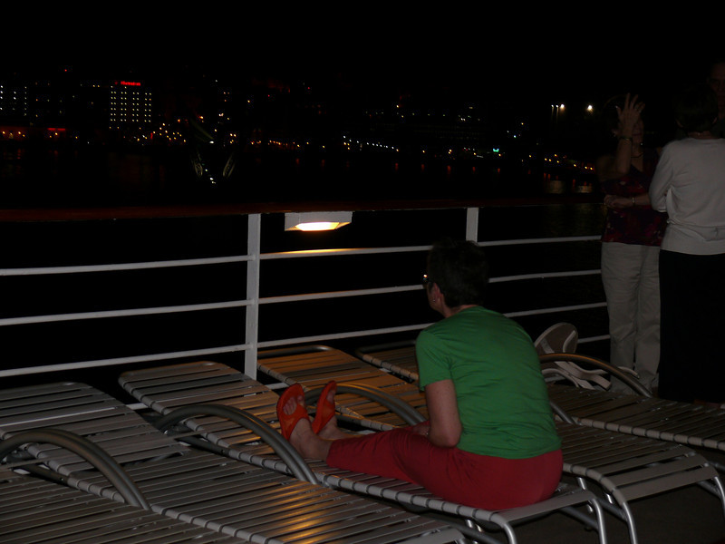 Lulu, watching the ship leave port in San Juan.