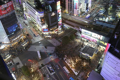 The Shibuya Crossing from the Excel Hotel Top Floor
