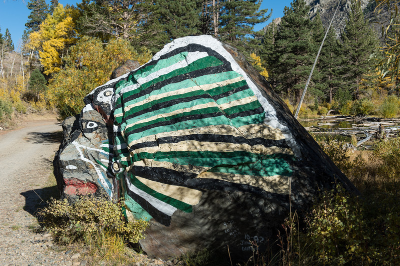 Famous painted rock at the end of the road. This has been there for 40+ years.