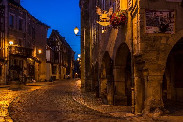 One evening we dined in Noyer-sur-Serein, walking along the quiet cobble stone streets to our restaurant. It looks different at night.