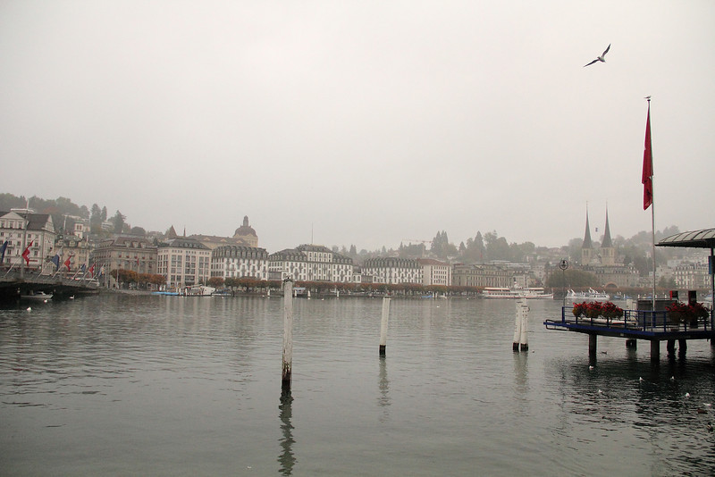 Unfortunately when we arrive in Luzern, the weather was not spectacular: rainy, overcast, and foggy.  First view of Lake Luzern, and the town of Luzern.
