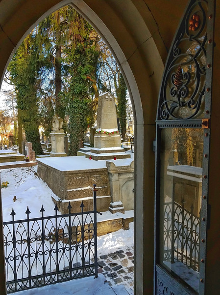 View from a mausoleum, Lychakiv Cemetery, Lviv Ukraine