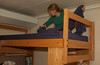 Making up the bunk-bed