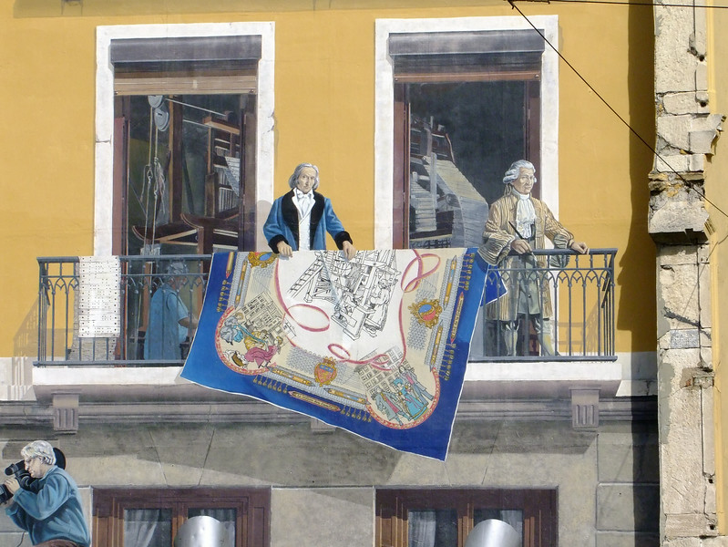 One of a seven story mural on a building in Lyon.  This depicts loom inventor Joseph-Marie-Jacquard for the silk industry.