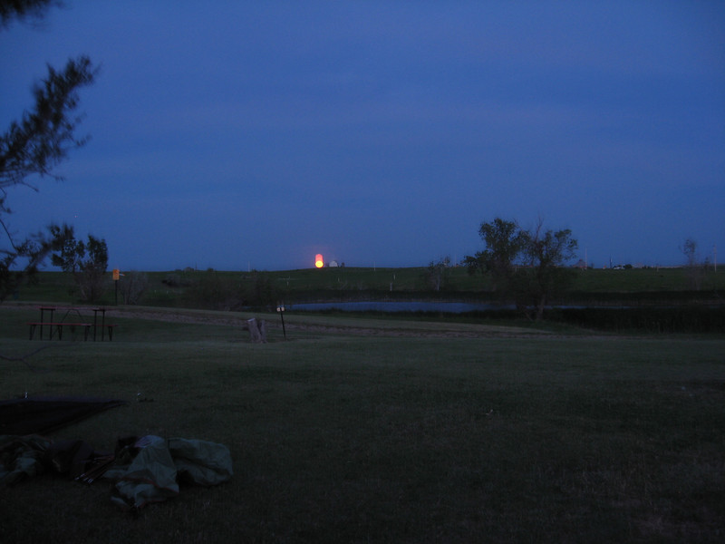 Full moon rising over the KOA campground in Belvidere, SD