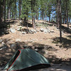 My camp - site #14 at Center Lake - Custer State Park<br /> Wish I had brought the bigger tent since I didn't backpack!