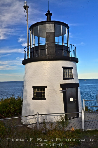 Owl's Head Light, Rockland, was built in 1825. It stands atop a tall, steep bank of concrete steps. Worth the effort? Yes, if one is a photographer, the weather is good and the vantage point is either from this vantage point or from a boat or airplane. [UFP092012]