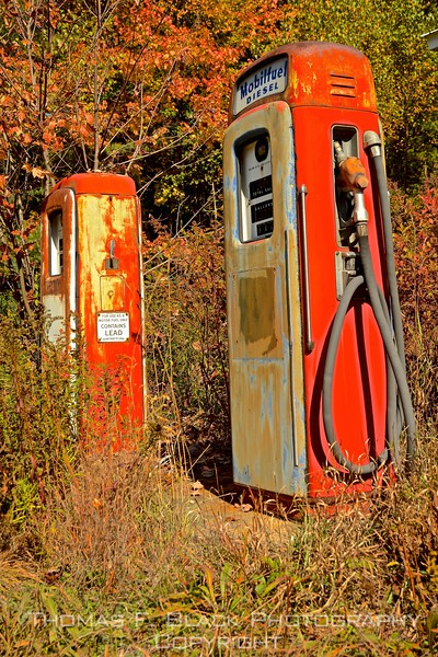 what remains of gas station, off hwy. 2, newry. road leads to storied sunday river covered bridge.