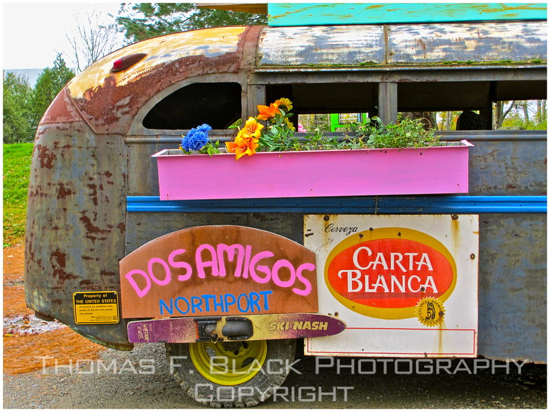 """Just as empty was this pitiful-looking bus in restaurant parking lot. """"Dos Amigos"""" is/was the name of the eatery. For benefit of those who don't consume beer, """"Carta Blanca"""" is a popular Mexican brand. [UFP101512]"""