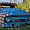 "This frame and next, locally famous come-hither ""flag"" truck -- a 1954 Ford -- parked in perpetuity alongside Highway 90 between Rockland and Rockport. It has seen better days, one of the reasons I wanted to photograph it. [UFP091712]"
