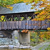 Wooden bridge in town of Newry, a few miles north of Bethel, measures 87 feet in length and spans the Sunday River. Built in 1872, the structure was closed to vehicular traffic in 1958. It is known as the Artists Bridge for its reputation as the most-photographed, most-painted covered bridge in the entire state. Only 10 remain.[UFP100312]