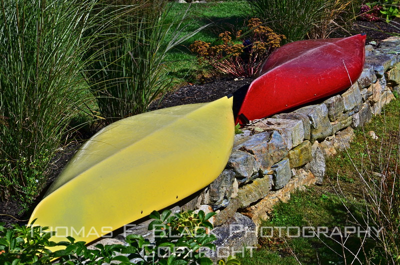 Fiberglass canoes, dried out and ready for return to duty, East Boothbay. [UFP092712]