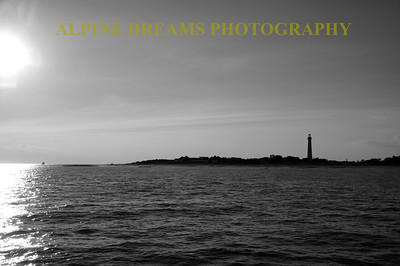 LIGHTHOUSE BLACK & WHITE NEAR SUNSET
