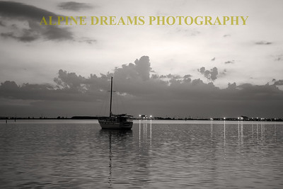 SAILBOAT AT DAWN B&W