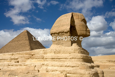 SPHINX in front of Giza pyramids.  CAIRO.
