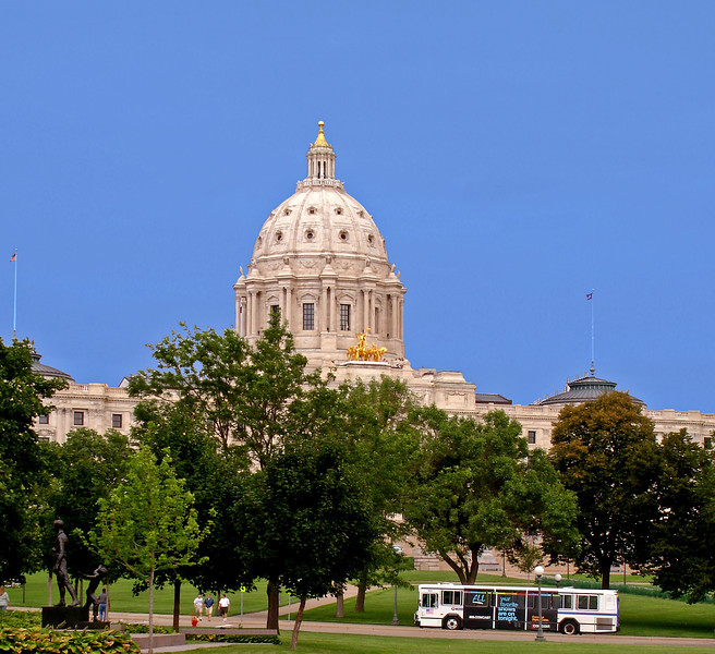 The Minnesota State Capitol, northwest of downtown, north of interstate 35E. Built 1895-1905, Cass Gilbert, architect.