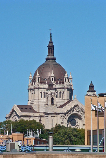 The Cathedral of Saint Paul on Summit Hill, as seen from the Minnesota History Center downtown. The dominating Renaissance Revival building was inspired by the cathedrals of France. Built 1907–1927. First service 1915.