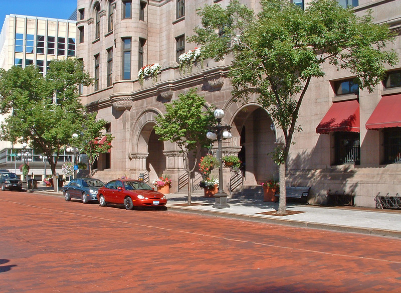 Brick-paved street; entrance to Old Federal Building.