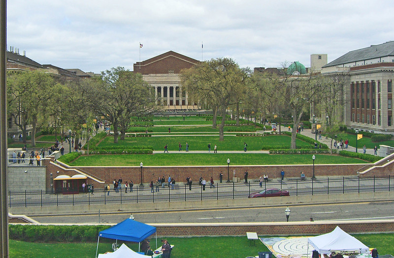 Looking north on the Mall (designed by St. Paul architect Cass Gilbert, 1908) to Northrop Auditorium (designed by Clarence Johnston, 1928).