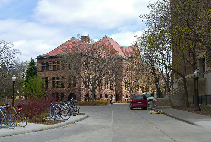 Behind (north of) Northrop Auditorium is the Old Campus Historic District, listed on the National Register of Historic Places. The U has retained and is adapting the use in a number of buildings from the oldest days of the university. Pillsbury Hall (Harvey Ellis, 1889) was built during the first big expansion of the University.