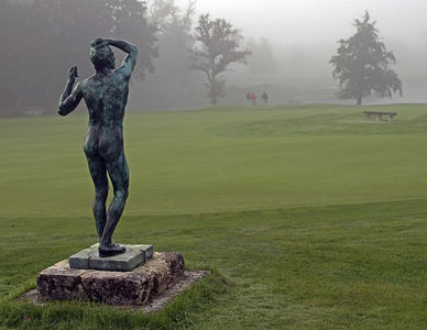 France -- Les Bordes Golf Club, Orleans. Rodin Statue by the putting green.