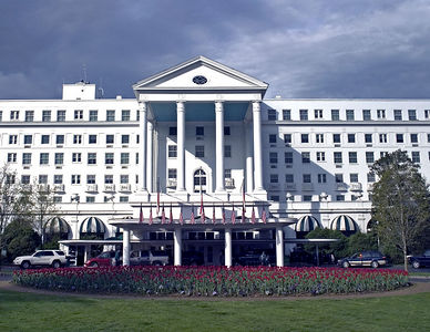 Main entrance to the Greenbrier, White Sulphur Springs, WV