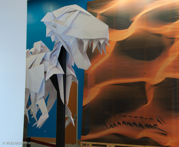 Tyrannosaurus rex skeleton created by OrigaMIT, MIT's origami club.  It was on display briefly in the Stata Center.