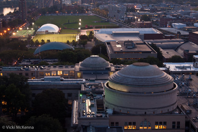 Looking west from the roof of building 54, you can see MIT's domes for Lobby 10 and Lobby 7.  Kresge Auditorium and the athletic fields are in the background.