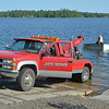 "Arriving at the launch point for our ""tow"" across Burntside Lake, we found a small problem.<br /> A ""slight miscalculation"" had caused a panel truck to end up in the lake!<br /> July 19, 2012"