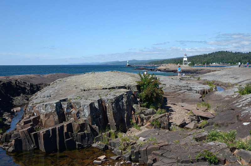 Shoreline in Grand Marais, MN, from Artist's Point. Prismatically cracked rock reveal underlying crystal structure.<br /> July 23, 2012