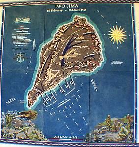 Iwo Jima Map at National Cemetery of Pacific
