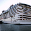This exciting new super liner owned by MSC container company (the world's 2nd largest shipping company), is 1093 feet long, 133,000 gross tons, 124 feet wide, and carries 3,274 lucky guests on her gorgeous year-round Mediterranean Cruises!