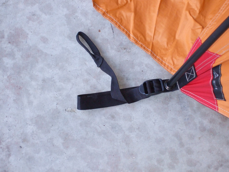 The tent pole is inset into the metal gromet, and the tent stake goes into the lower fabric loop. The upper loop is the one you pull on to tighten the strap to the stake.