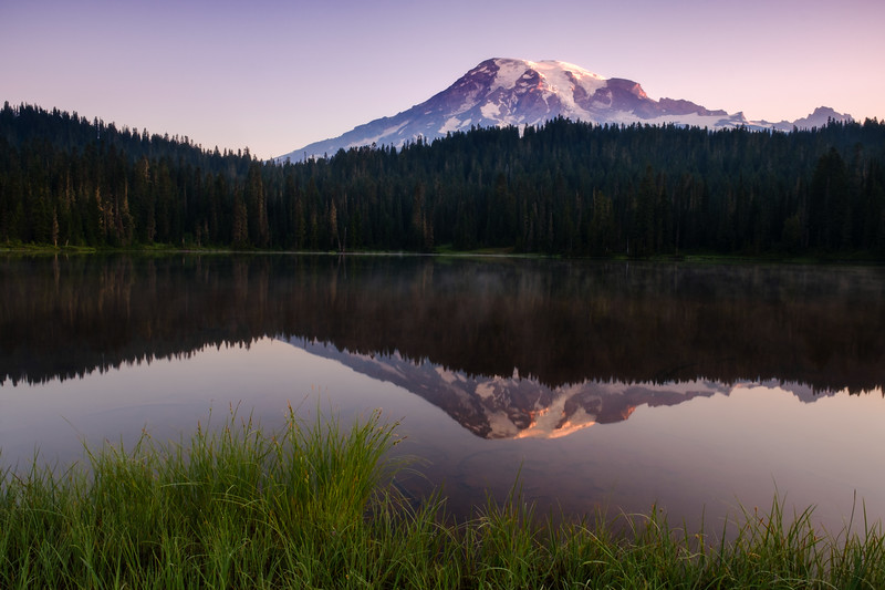 FIRST LIGHT ON RAINIER AT REFLECTION LAKE